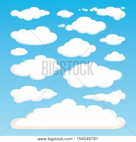 Pattern of white clouds isolated on blue sky background. Set of realistic clouds of different shapes. Great collection of cloudscape elements. Heaven pattern. Meteorology. Vector design illustration