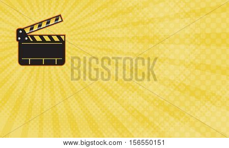 Business card showing Illustration of an open movie camera slate clapper board viewed from front done in retro style.