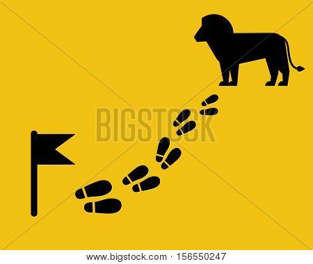 Find the lion on the map. Footstep with flag. Flat style.