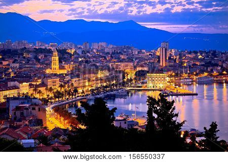 Aerial evening view of Split waterfront from Marjan hill Dalmatia Croatia