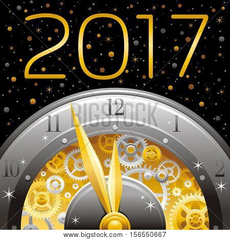 Merry Christmas and New year 2017 square banner. Greeting card design with clockwork, cogwheel, minute, hour hand, vintage clock element on black background. Gold silver icon, text letter, gold stars
