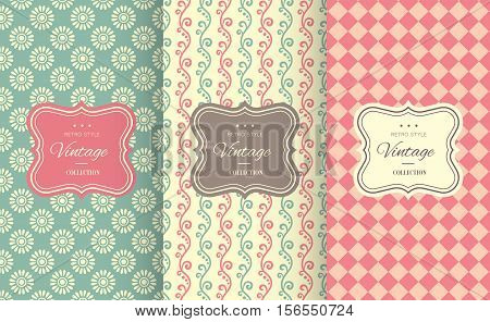 Charming different vector seamless patterns. Sweet pink, blue and lemon cream colors. Endless texture can be used for printing onto fabric and paper. Heart, flower and dot shape.