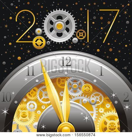 Merry Christmas and New year 2017 flyer. Greeting card design with clockwork, cogwheel, minute, hour hand, vintage clock element on black background. Gold silver icon, text lettering, golden stars sky