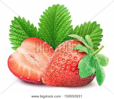 Perfectly retouched strawberry with sliced half and leaves isolated on white background whith clipping path poster