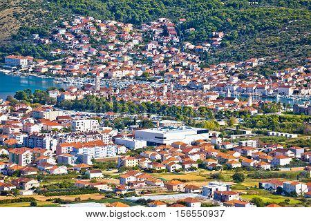 UNESCO town of Trogir aerial view Dalmatia Croatia