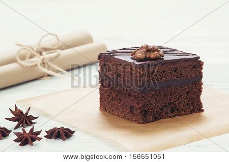 Chocolate Cake On Baking Paper