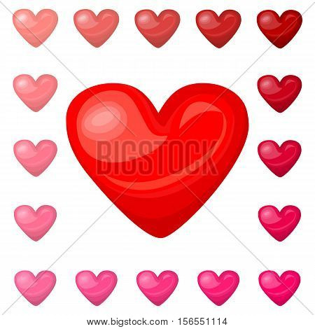 Cute shiny red pink heart icons set isolated on white background. Vector illustration for valentine design. Chic sweet feminine invitation card. Lovely romantic decorative collection