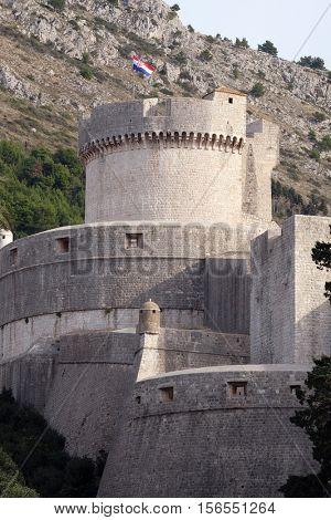 DUBROVNIK, CROATIA - NOVEMBER 30: Walls of Dubrovnik with Minceta Tower in Dubrovnik, Croatia on November 30, 2015.