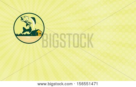 Business card showing Illustration of a Walleye (Sander vitreus formerly Stizostedion vitreum) a freshwater perciform fish jumping with lake and cabin in the woods in the background set inside circle done in retro style.