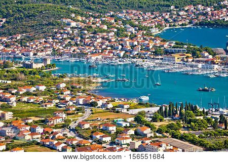 Troagir bay and Ciovo island aerial view Dalmatia Croatia
