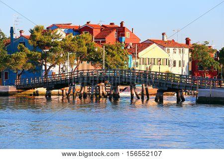 Wooden Bridge In Mazzorbo Island In The Venetian Lagoon Northen