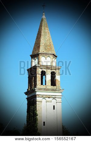 Bell Tower On The Island Of Burano With Vignetting And Color Ant