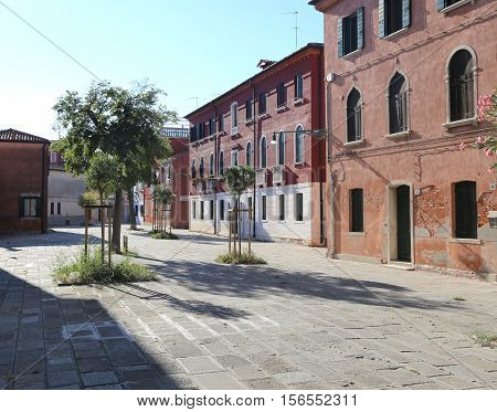 Ancient Square Called Campo In The Murano Island In Italy
