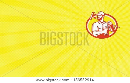 Business card showing Illustration of a handyman with beard moustache facial hair holding paint roller on shoulder and cordless drill looking to the side set inside oval shape done in retro style.