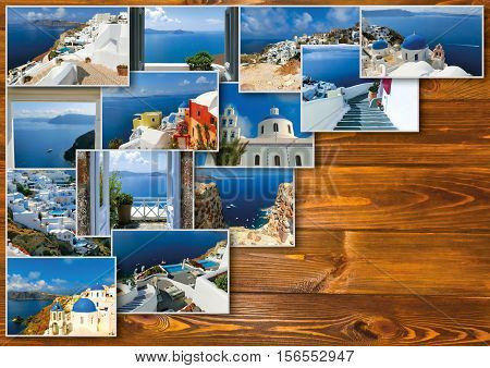 Traditional architecture of Oia village on Santorini island, Greece. Collage on woden table