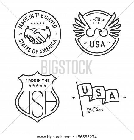 Made in usa labels badges stamps set. Design elements for seal design, prints and stickers. Vector vintage monochrome illustration.