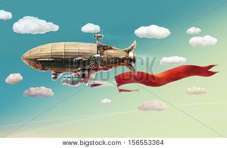Fantastic airship in the sky and clouds. Raster illustration.