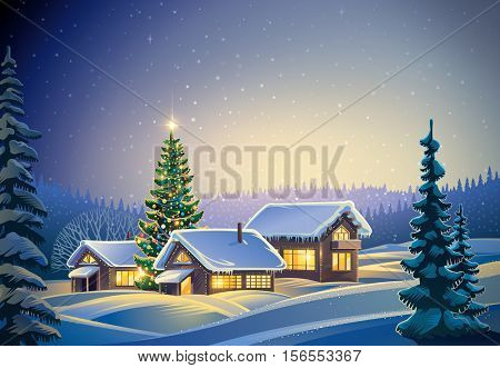 Winter festive forest landscape with houses and Christmas tree. Raster illustration.