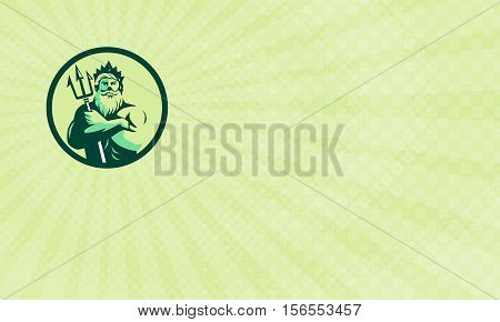 Business card showing Illustration of Poseidon with triton mythological god arms crossed holding trident viewed from front set inside circle done in retro style.