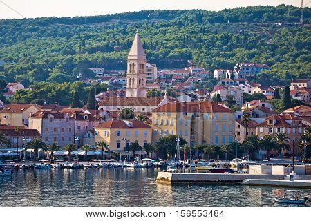 Supetar waterfront view from sea island of Brac Dalmatia Croatia