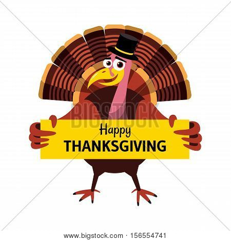 Cartoon Thanksgiving turkey. Turkey holds a congratulatory poster