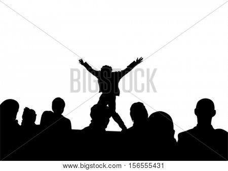 Singer men in rap style on white background