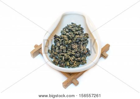 Traditional Chinese tea. Oolong tea. Tea on a white background. Milk oolong