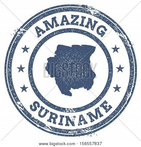 Vintage Amazing Suriname Travel Stamp With Map Outline. Suriname Travel Grunge Round Sticker.