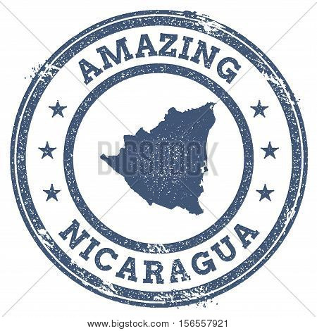 Vintage Amazing Nicaragua Travel Stamp With Map Outline. Nicaragua Travel Grunge Round Sticker.