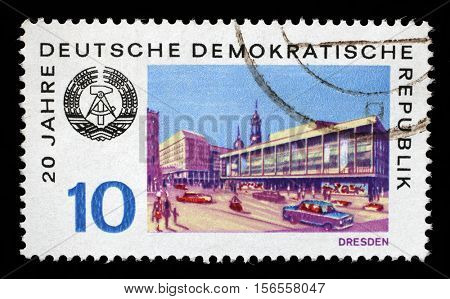 ZAGREB, CROATIA - JULY 02: a stamp printed in GDR shows View of Dresden, circa 1969, on July 02, 2014, Zagreb, Croatia