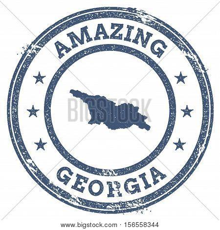 Vintage Amazing Georgia Travel Stamp With Map Outline. Georgia Travel Grunge Round Sticker.