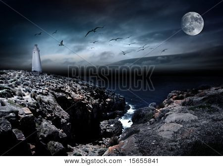 Lighthouse, moon, and birds