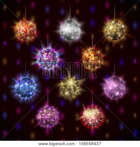 Set of disco balls club sphere glitter retro nightlife. Disco background vector illustration party bright design elements. Disco balls dance shine design round shiny music entertainment.