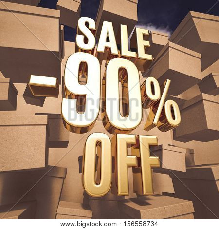 3d render: Golden 80 Percent Off Discount Sign with Boxes, Gold Special Offer 80% Discount Tag, Sticker