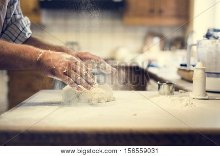 Preparing Scone Dough Pressing Concept