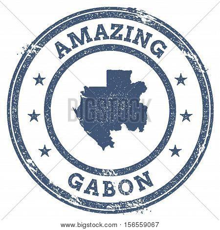 Vintage Amazing Gabon Travel Stamp With Map Outline. Gabon Travel Grunge Round Sticker.