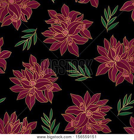 Seamless black background with burgundy flowers. Vector floral pattern.