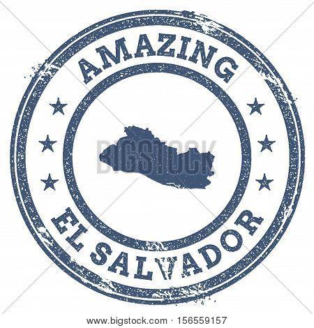 Vintage Amazing El Salvador Travel Stamp With Map Outline. El Salvador Travel Grunge Round Sticker.