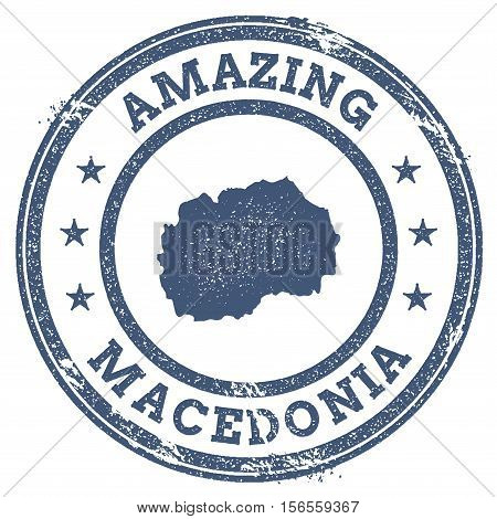Vintage Amazing Macedonia, The Former Yugoslav Republic Of Travel Stamp With Map Outline. Macedonia,