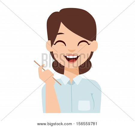 Young happy woman smiling or student happy girl. Smiling woman vector illustration and girl t beauty person