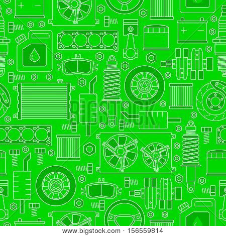 Auto spare parts seamless pattern. Car repair icons texture in outline style. Vector illustration EPS10.