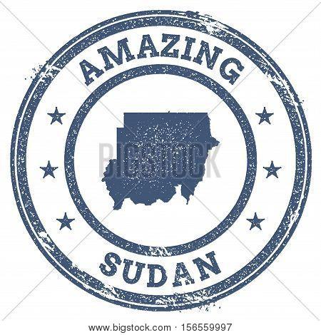 Vintage Amazing Sudan Travel Stamp With Map Outline. Sudan Travel Grunge Round Sticker.
