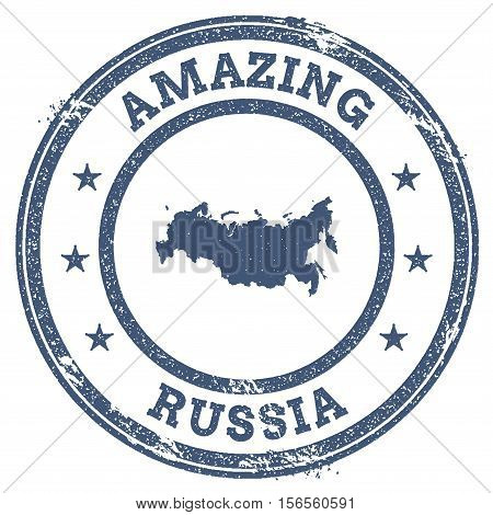 Vintage Amazing Russian Federation Travel Stamp With Map Outline. Russian Federation Travel Grunge R