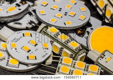 various G4 LED bulbs with different size shape and performance of chips