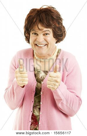 Female impersonator giving two thumbs up.  Isolated on white.