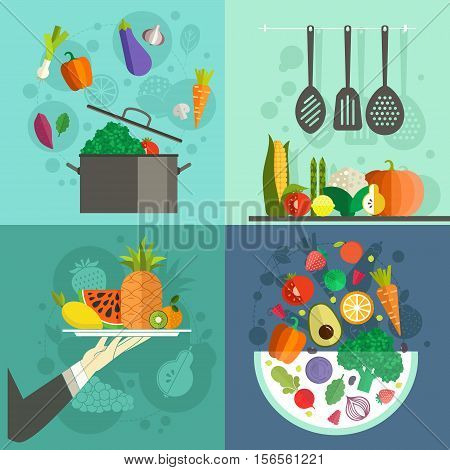 Collection of banners with healthy food for culinary school, healthy diet illustration or restaurant menu. Healthy vegetables and fruits. Vector flat art.