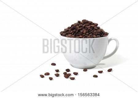 Still Life of a Coffee Cup Overflowing with Coffee Beans on White Background