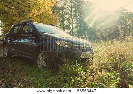 Munich, Germany - October 01, 2016: Renault Sandero (Stepway) parked on the country road.