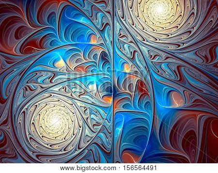 Abstract colorful background - computer-generated image. Fractal art: intricate ornament of lines, shapes and curls like stain-glass. For covers, web design, prints.