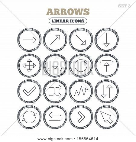Arrows line icons. Download, upload, check or tick symbols. Refresh, fullscreen and shuffle thin outline signs. Circle flat buttons with linear icons. Vector